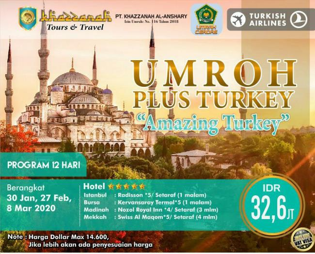 Paket Umroh Plus Turki 2020 Januari